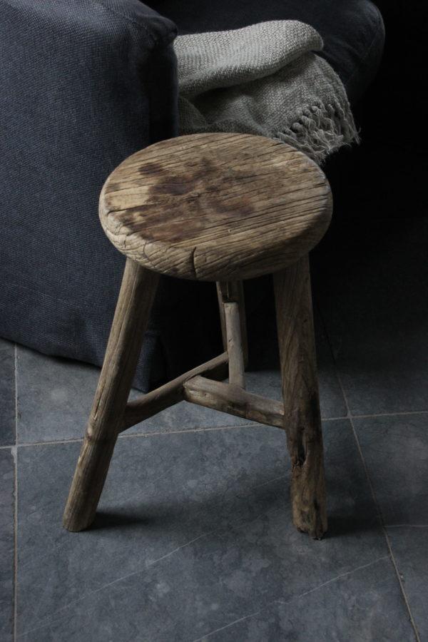 ronde houten kruk