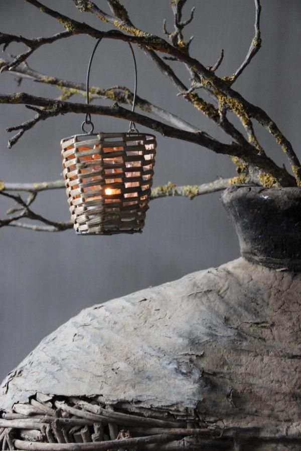 theelicht bamboe met glas en hengsel