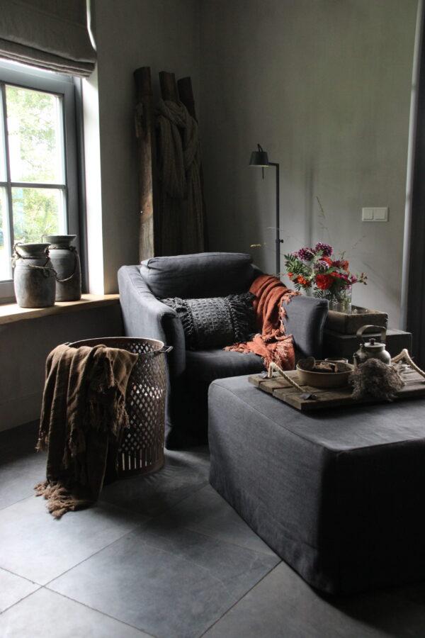 100 % linnen plaid terracotta kleur
