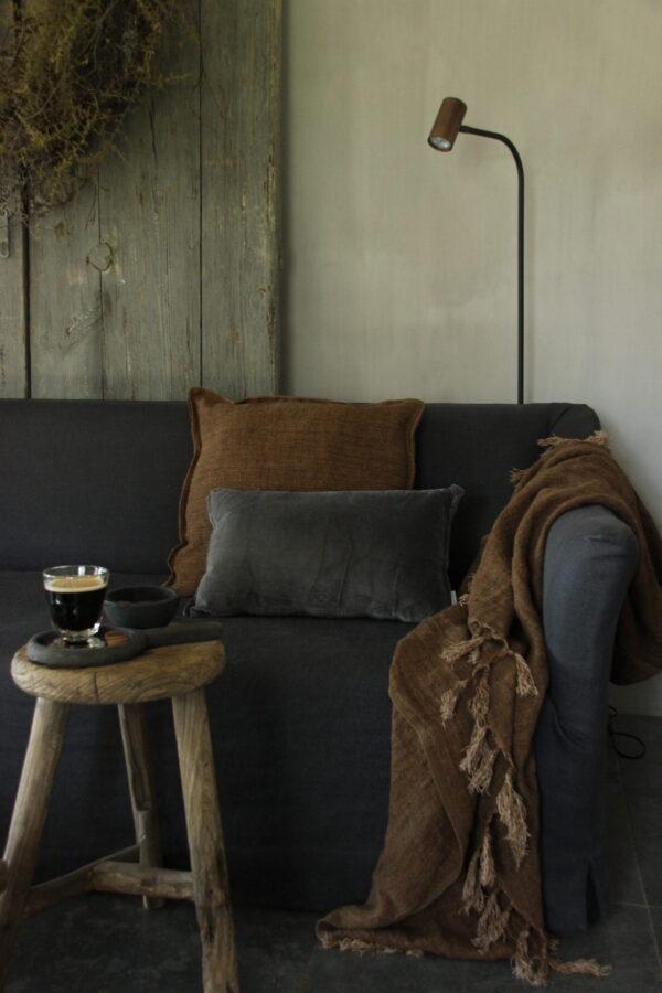 Velvet/Linnen kussen dark grey 48x28 cm