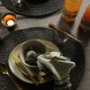 Onderzetter/placemat jute zwart ovaal 52 x 42 cm