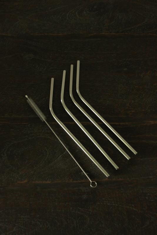 Gebogen rietjes RVS 4 stuks met borstel