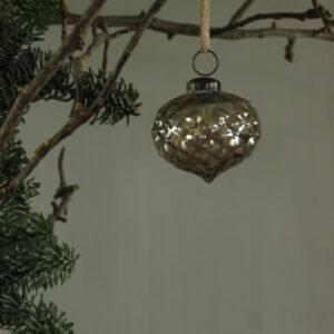 Kerstbal in druppelvorm antiek bruin klein