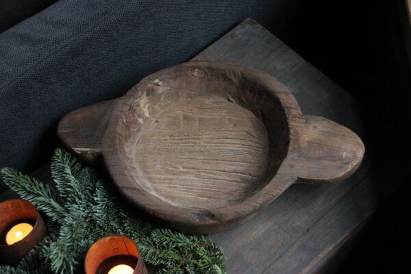 Grove houten schaal met handvatten