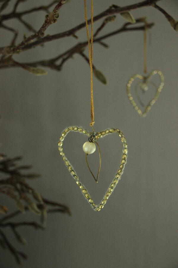 Small beaded heart goud kleur