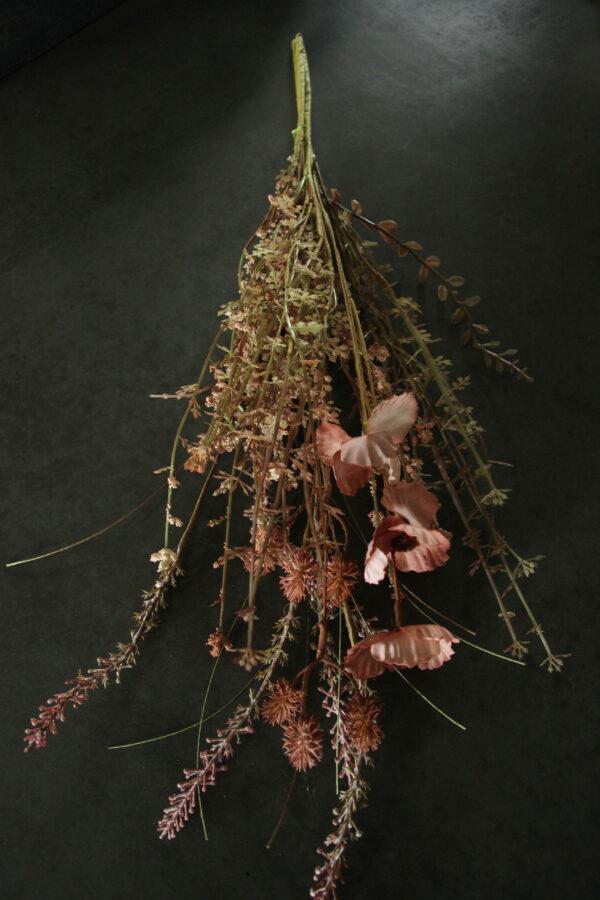 Mix van droogbloemen zijde boeket aubergine