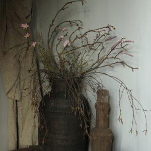 Mix van droogbloemen zijde boeket zacht lila