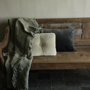 Kussen velvet donker antraciet/zwart 85 x 40 cm