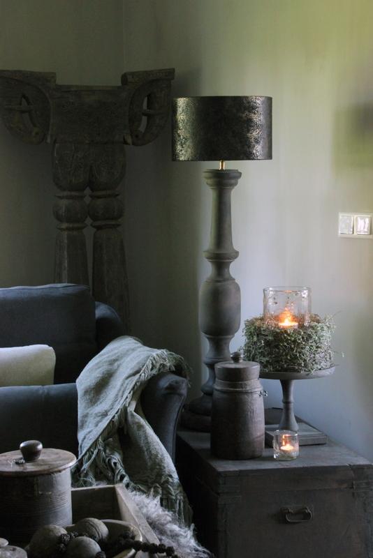 Antraciet houten balusterlamp XL