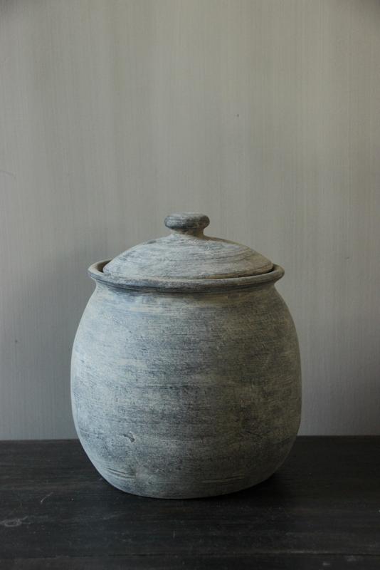 Set van 3 grijze potten met deksel