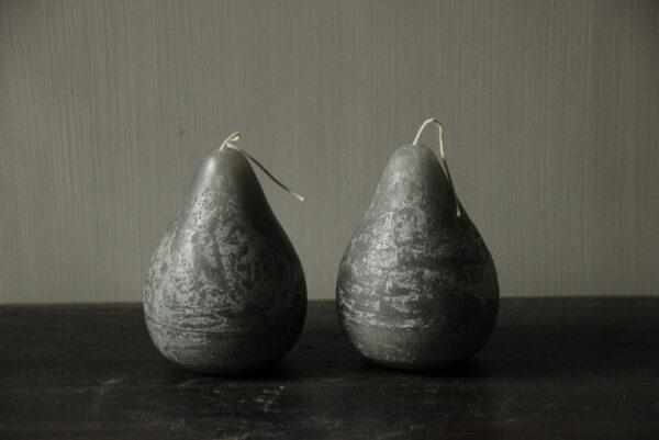 Kaars in peervorm grijs