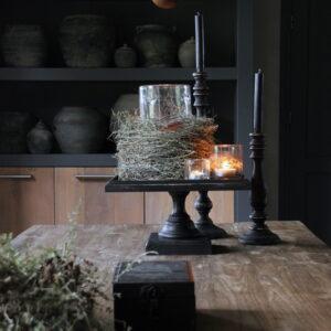 Zwart houten plateau 40 x 40 cm vierkant