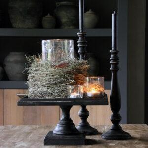 Zwart houten kandelaar middel
